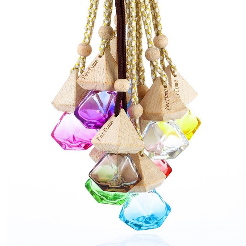 Diamond Shape Verre Diffuseur Diffuseur Bouteilles en bois Pointe en plastique Mini parfum parfum bouteilles bouteilles de diffuseur vide Conteneur en verre Livraison gratuite