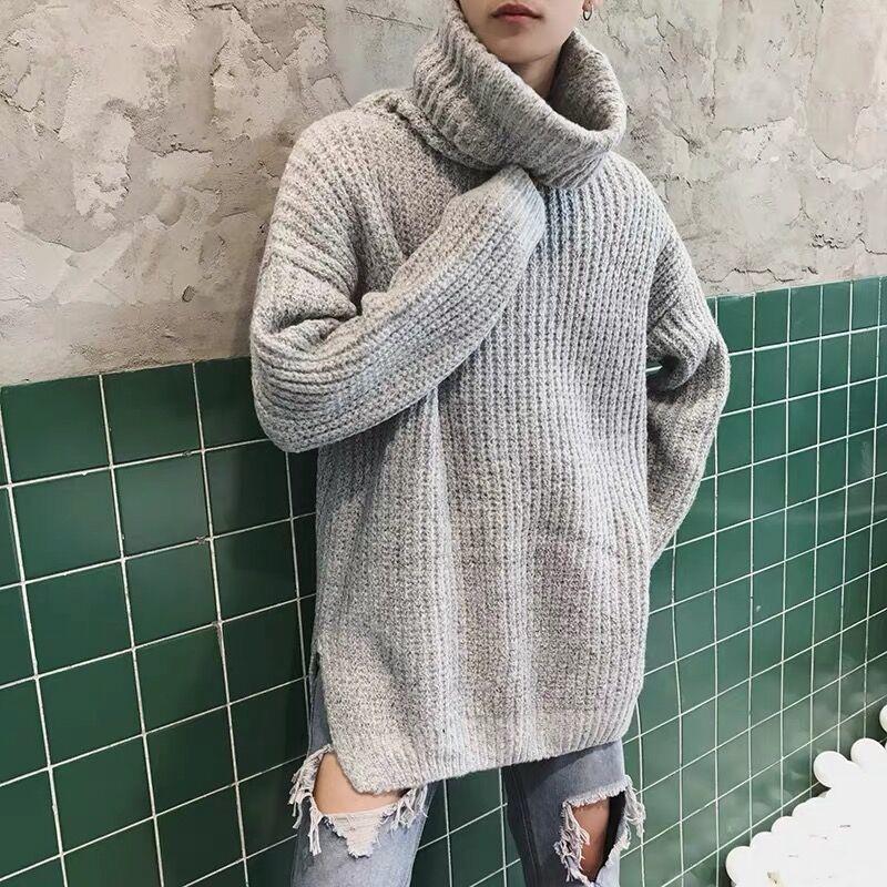 Inverno TurtrleNeck Maglione caldo moda tinta unita a maglia casual pullover uomo allentato manica lunga sweet vestiti maschili M-2XL