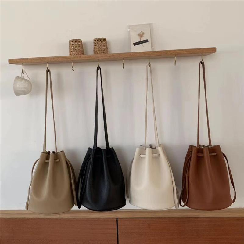 Vintage Bucket Bags Women Solid Color Shoulder Bag Casual Drawstring Messenger Bags Totes Ladies Luxury Pu Leather Crossbody Bag C0308