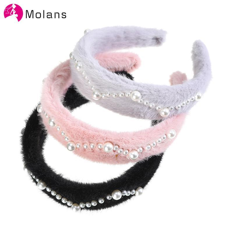 Molans 2020 Pelzstirnband für Frauen Perle Plüsch Haar-Band-Lünette Haarreif Warm Herbst-Winter-Haar-Accessoires Mützen
