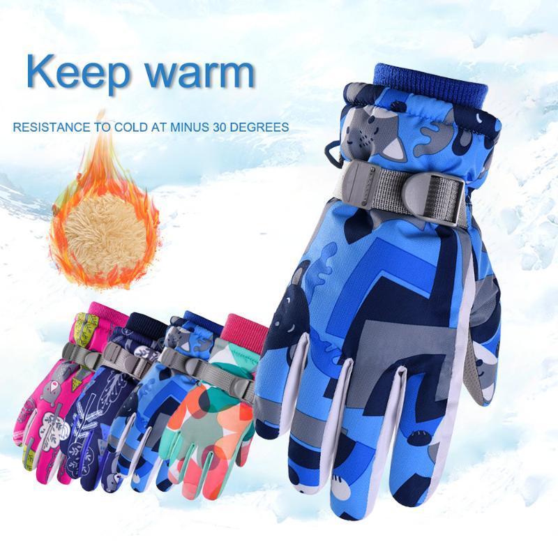Ski Gloves Children Snowboard Skiing Professional Kids Winter Warm Motorcycle Riding Waterproof Snow D30