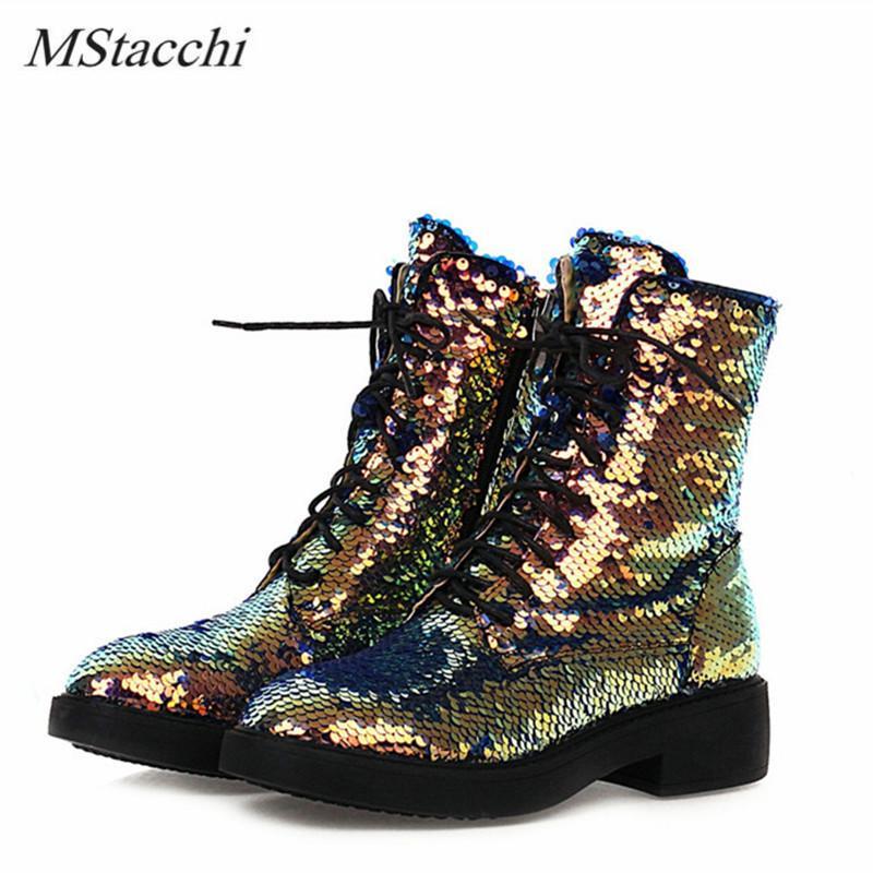 Mstacchi مثير أحذية قصيرة للنساء جولة تو الترتر القماش الجانب سستة أحذية في الهواء الطلق سميكة أسفل مكتنزة كعب منتصف العجل بوتاس J1203
