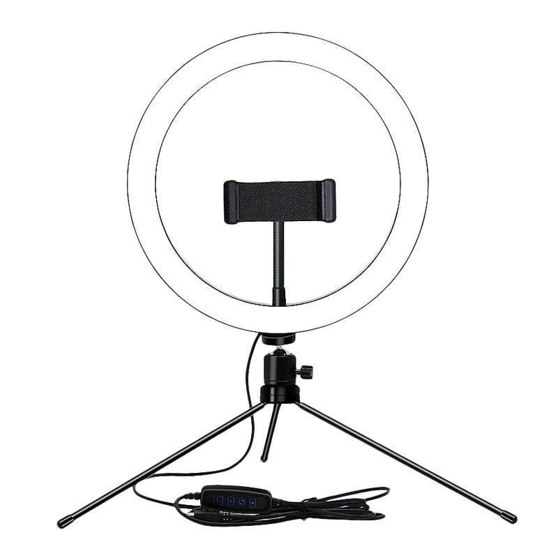 Dimmable LED селфи Кольцо света 8-дюймовый кольцо Лампа для макияжа Освещение Комната красоты Настольный штатив Living Broadcast USB Plug