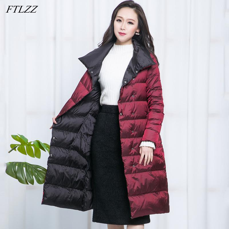 FTLZZ New Women Double Sided Down Long Jacket Winter Turtleneck White Duck Down Coat Double Breasted Warm Parkas Snow Outwear 210203