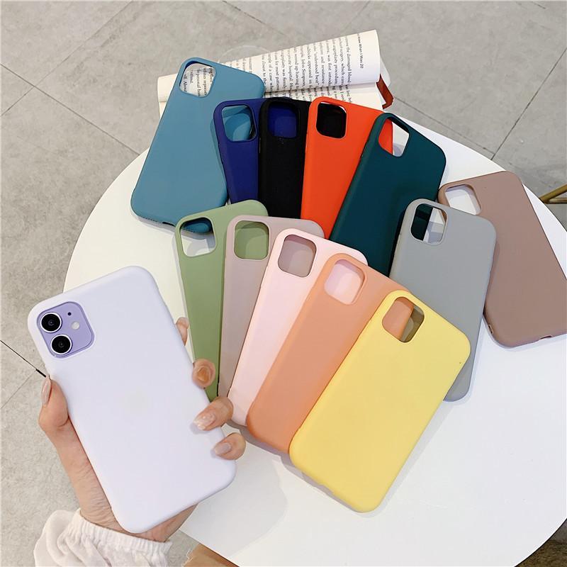 Lüks kaliteli iphone durumda iPhone12 XR x 7P xs max 11pro koruyucu saf renk elma buzlu TPU cep telefonu kılıfları