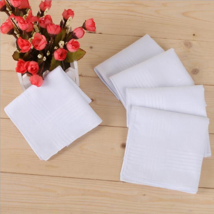 Handkerchief Cotton männlich Tabelle Satin Handkerchief Servietten Plain Blank DIY Handkerchief Weiß Thin Hochzeit Geschenke Partei-Dekoration OWC3673