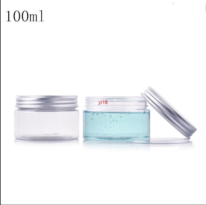 Schnell versandkostenfreier Versand 100g / ml Klare Lucency Plastik leer b0ttle Aluminiumkappe mit Innenkappe Creme Bath Salz kosmetische Container ogxtx
