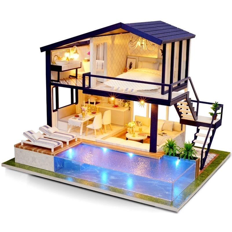 3D Miniaturas Dollhouse Casa Casa Mobiliário de Madeira DIY Casa Miniatura Caixa Do Puzzle Montagem Kits Brinquedos Para Crianças Presente De Aniversário 201217