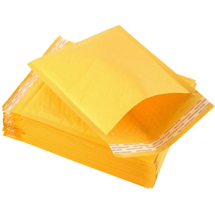 Sarı Kabarcık Zarf Wrap Çanta Torbalar Ambalaj PE Kabarcık Çanta Dış Kraft Kabarcık Mailer Pad Express Çanta 13 * 15 + 4 cm Deniz Kargo GWC5346