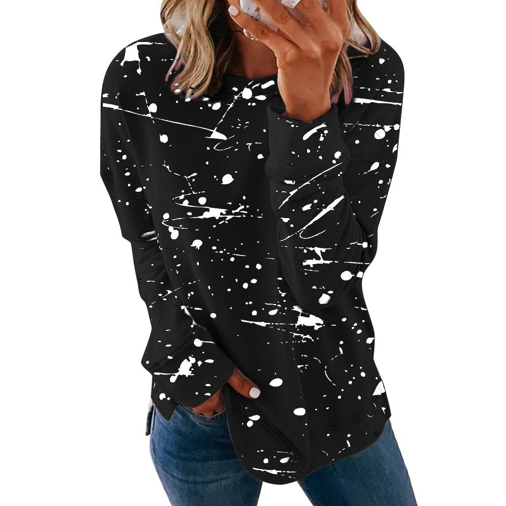2020 European and American Foreign Trade Cross-Border New Popular Stitching Contrast Color round Neck Long Sleeve Casual Loose Womens Sweate