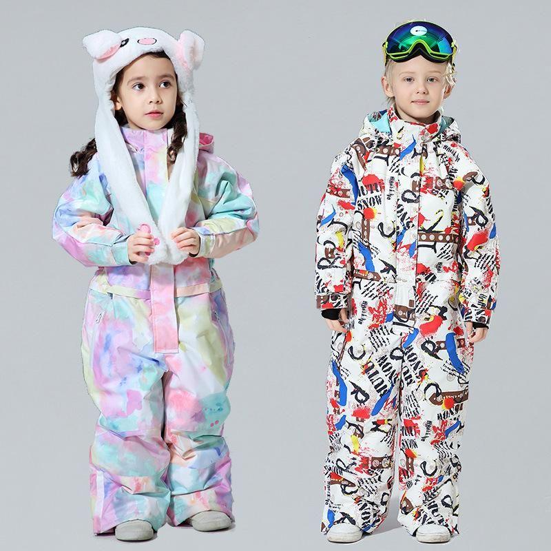 Baby Siamese Children's Ski Traje de esquí Boys and Girls Equipos de esquí caliente