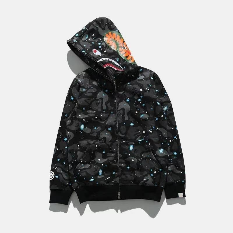 Mens Hoodie Shark Head 스웨터 스웨터 패션 스트리트웨어 까마귀 힙합 밤 빛 위장 까마귀 스웨터 코트 M L XL 2XL