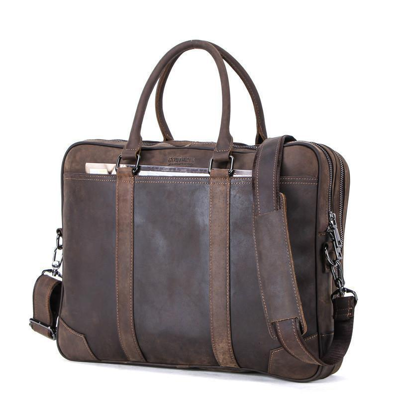 Hombres Más Asuntos portátiles Función Oblique Hombre genuino Cuero Tiempo real Maletín Business Satchel Ocio Messenger Bag vnuoe