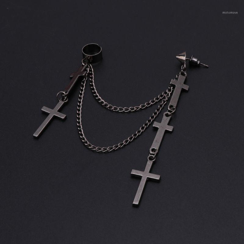استرخى الثريا القوطية الشرير الصليب طويل شرابة سلاسل الأذن صفعة أقراط الأزياء والمجوهرات 1
