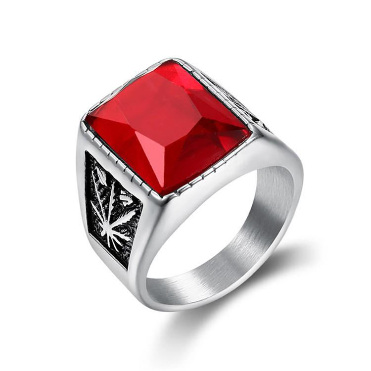 Stainless Steel Retro Silver Gold Trendy Men's Fashion Punk Gothic Biker Maple Leaf Rings Jewelry With Black Red Stone