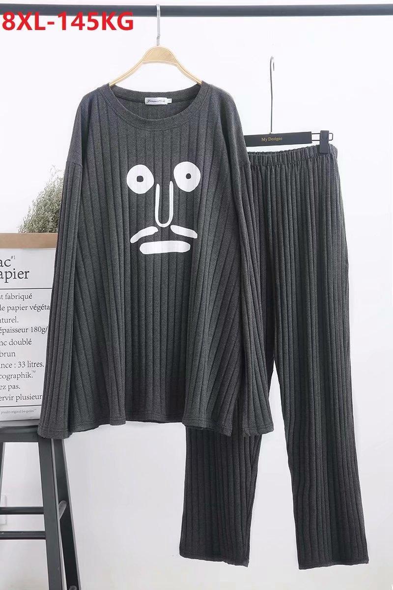 Outono inverno mulheres homens casal pijama conjuntos engraçado algodão caseiro sleepwear plus tamanho 8xl grande cartoon solto pijamas Homewear 54