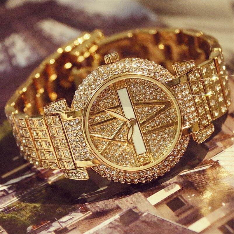 Роскошный алмазные часы Мода из нержавеющей стали браслет браслет женские дизайн кварцевые часы часов Relogio Feminino 201217