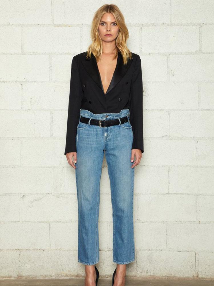 Chique vintage alta cintura jeans slim catabas calças causais botão largo perna reta denim lavado calças mulheres 2020 outono inverno