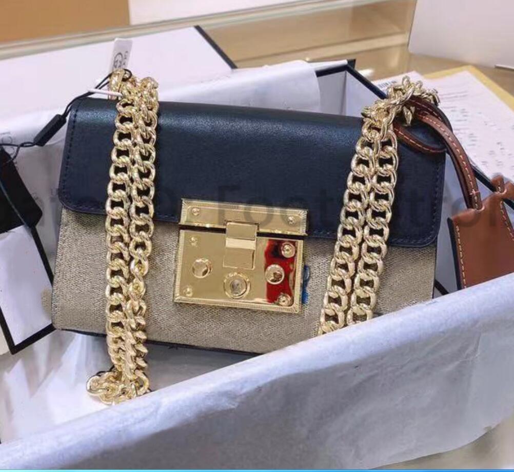 2021 Сумки из роскоши Мода дизайнеры Женские высококачественные Crossbody Black Печатная сумочка цепи Настоящие кожаные дамы на плечо сумка для сумок для тела