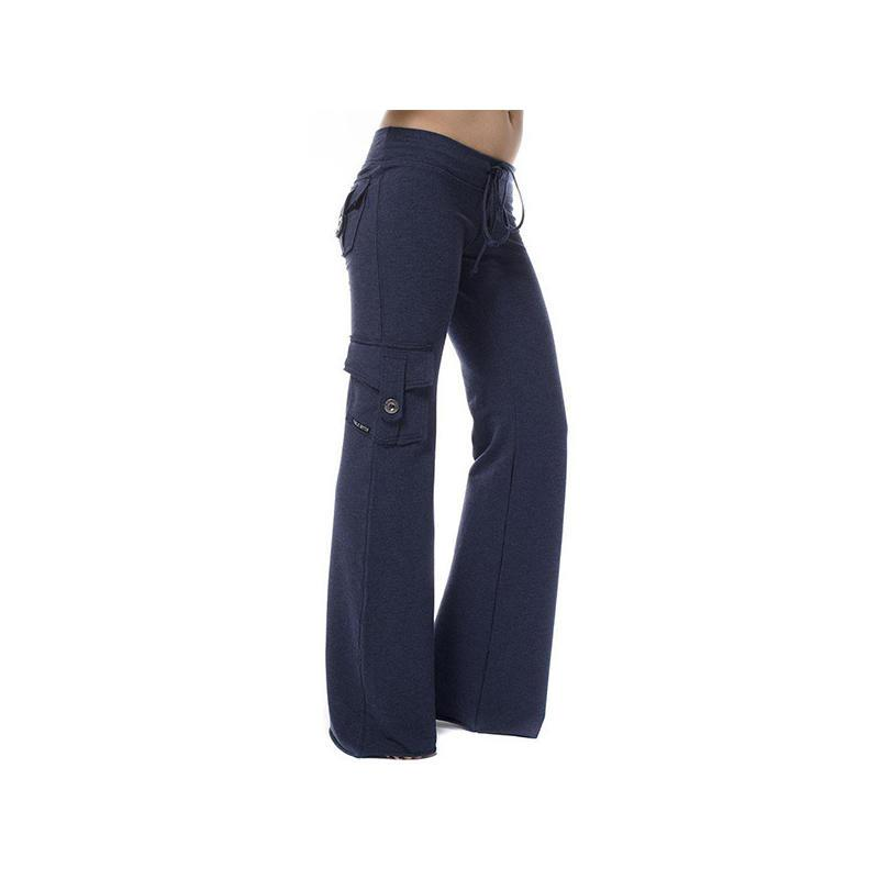 Women Elastic Waist Solid Color Pockets Buttons Lace-Up Yoga Pants Long Trouser Ladies Casual Travel Straight Track Pants