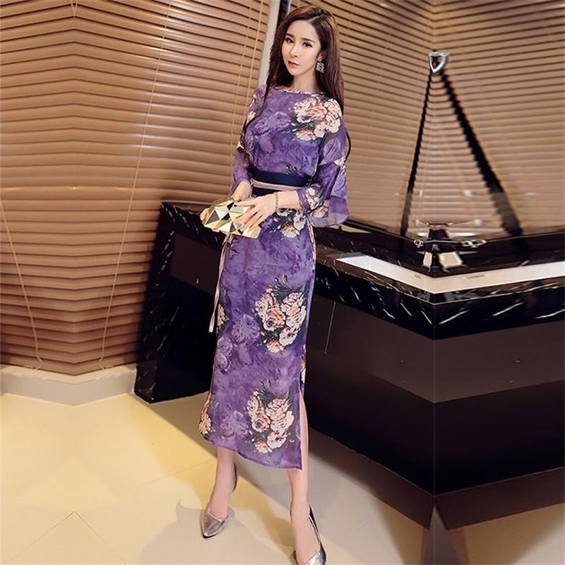 Tailândia chapai chiffon vestido mulheres 2020 novo estilo nacional impresso cheongsam longa saia com fecho de cintura e estilo estranho