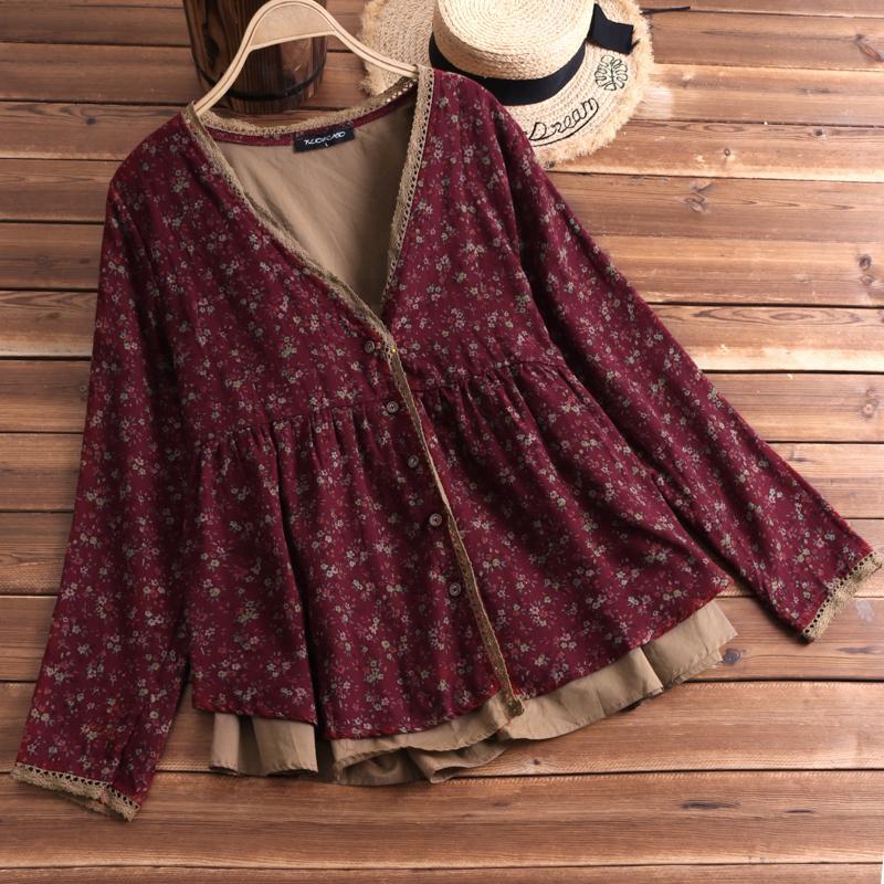 FLORHO Women Floral Blouse Vintage Lace Shirt V-Neck Cardigan Button Cotton Linen Loose Tops blusa feminina Plus Size L-5XL T200429