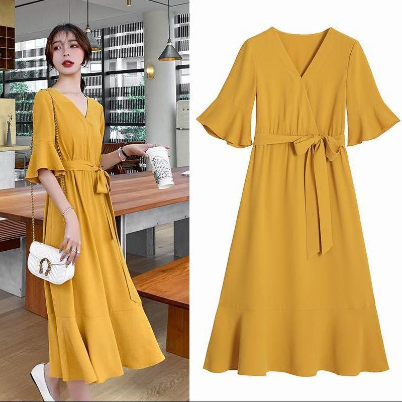2021 Yeni Artı Boyutu Yaz Sarı Zarif V Boyun Pamuk Parti Kadınlar Ruffled Kemer Robe Femme Streetwear Rahat Uzun VBS5