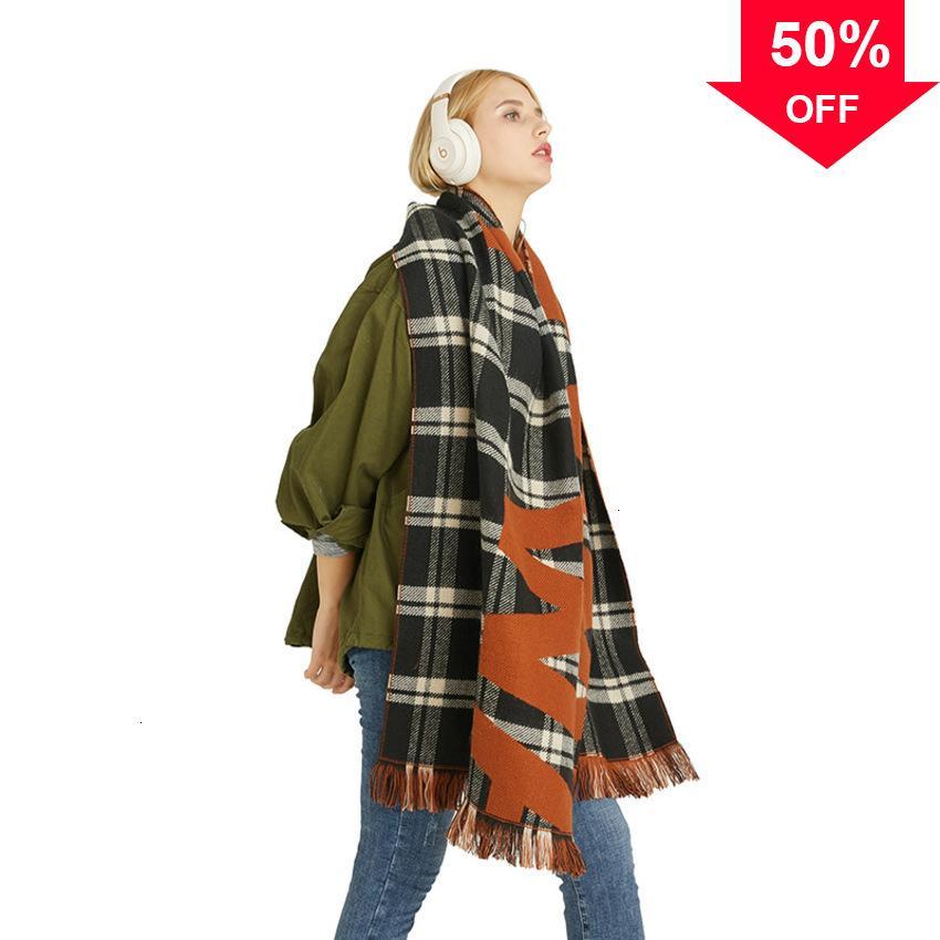 Herbst und Winter 2020 Koreanische Briefmuster Druckschal Fashion Quaste Lange Warme Schal Frauen JFFR