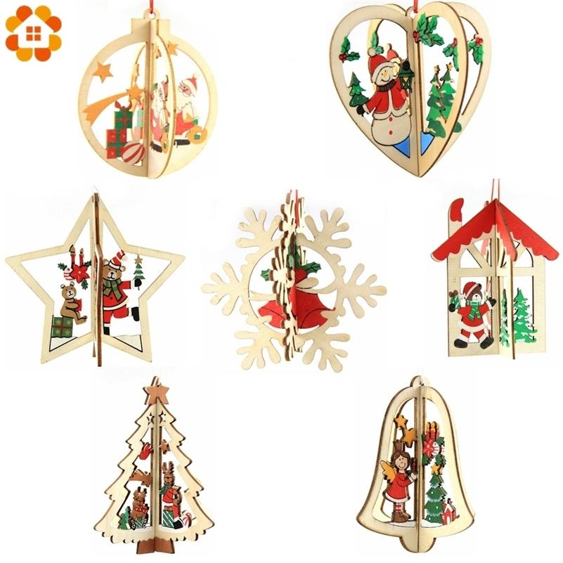 3Sets/Lot 3D Creative Christmas Wooden Pendants Ornaments For Home Christmas Party Xmas Tree Ornaments Kids Gifts Decorations Y201020