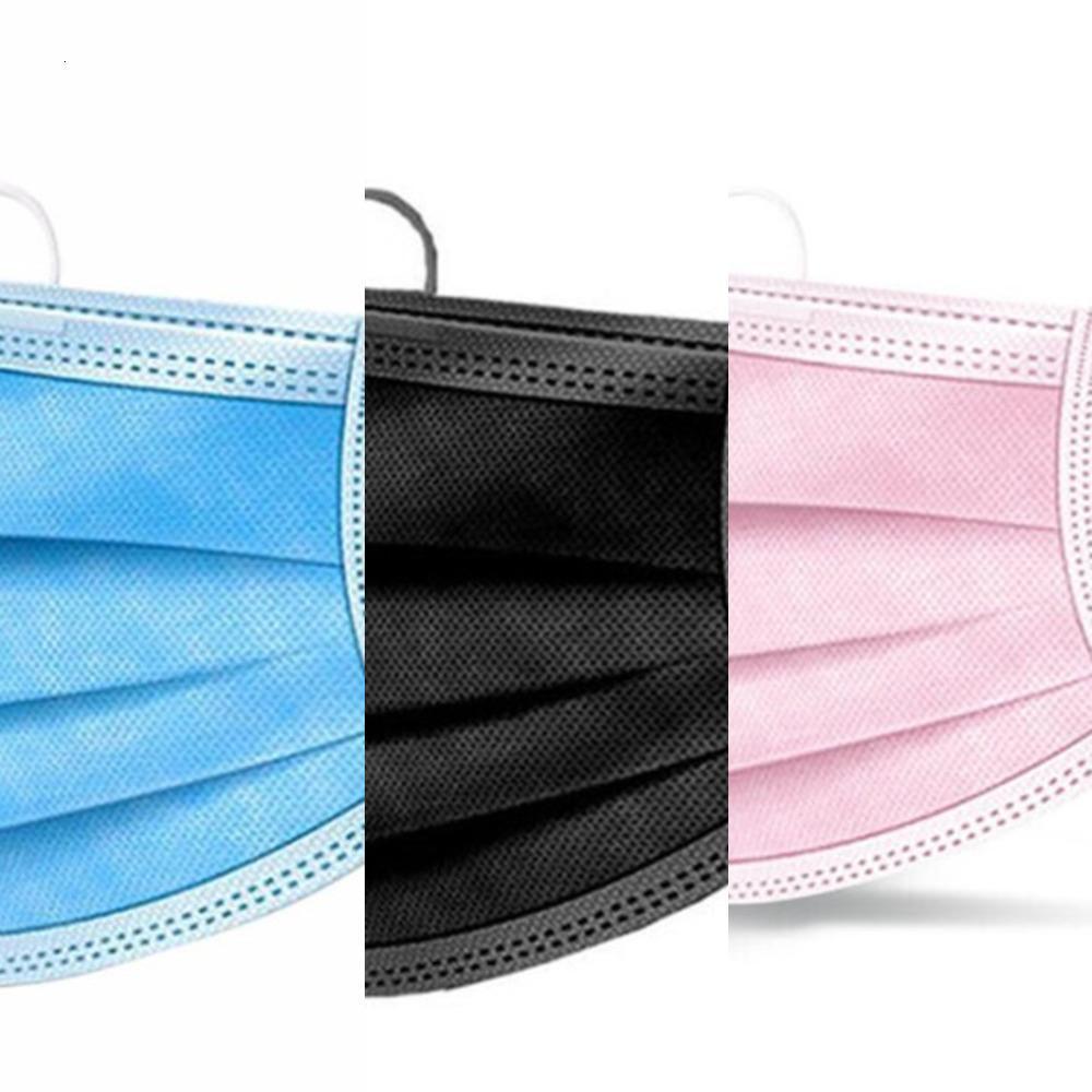 Frete grátis preto rosa branco face descartável DHL grossa máscaras de 3 camadas com lenços para salão de beleza, casa use máscara confortável