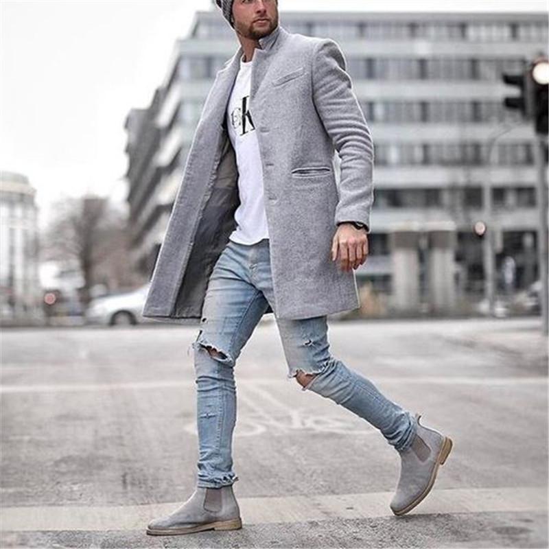 Мужская шерстяная смесь мужской пальто осень осень зимняя пиджака мода с капюшоном мотоцикл повседневная байкер панк негабаритные куртки одежда уличная одежда