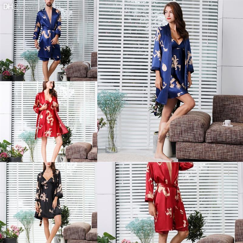 GXTxsweet Casal Com Capuz Flanela Robe Lovers Silk Flor Casa Vestido Loose Moda Quente Inverno Espesso Roupão Roupão Vestido Casual Amantes
