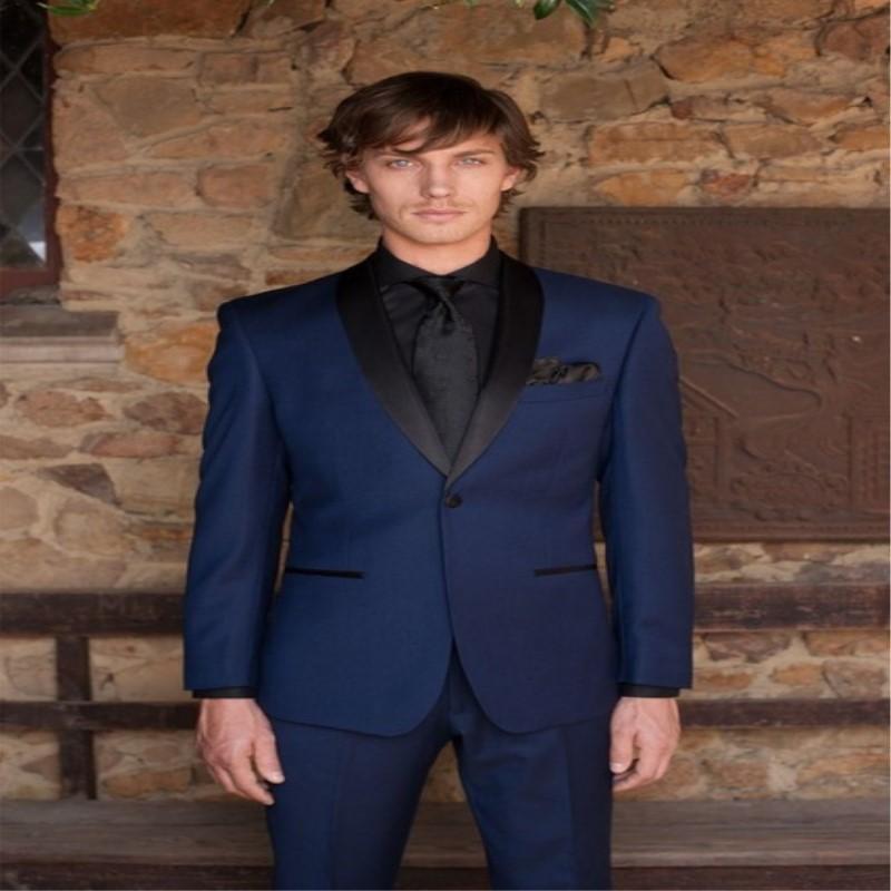 Men's Suits & Blazers Beach Groom Tuxedos Navy Blue Two Button Slim Party Man Evening Casual Men Groomsman/Men (Jacket+Pants+tie)