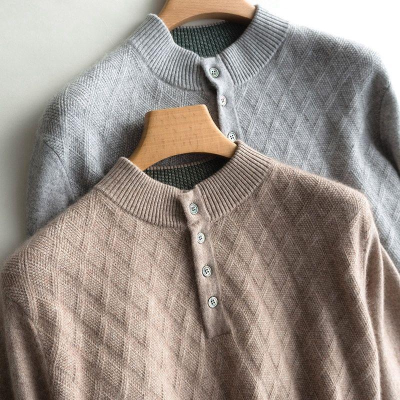 Человек свитер кнопка на шеи пуловеры 100% коза кашемировая сетка с длинным рукавом перемычки 2020 зима новые 4 толстые горячие вершины