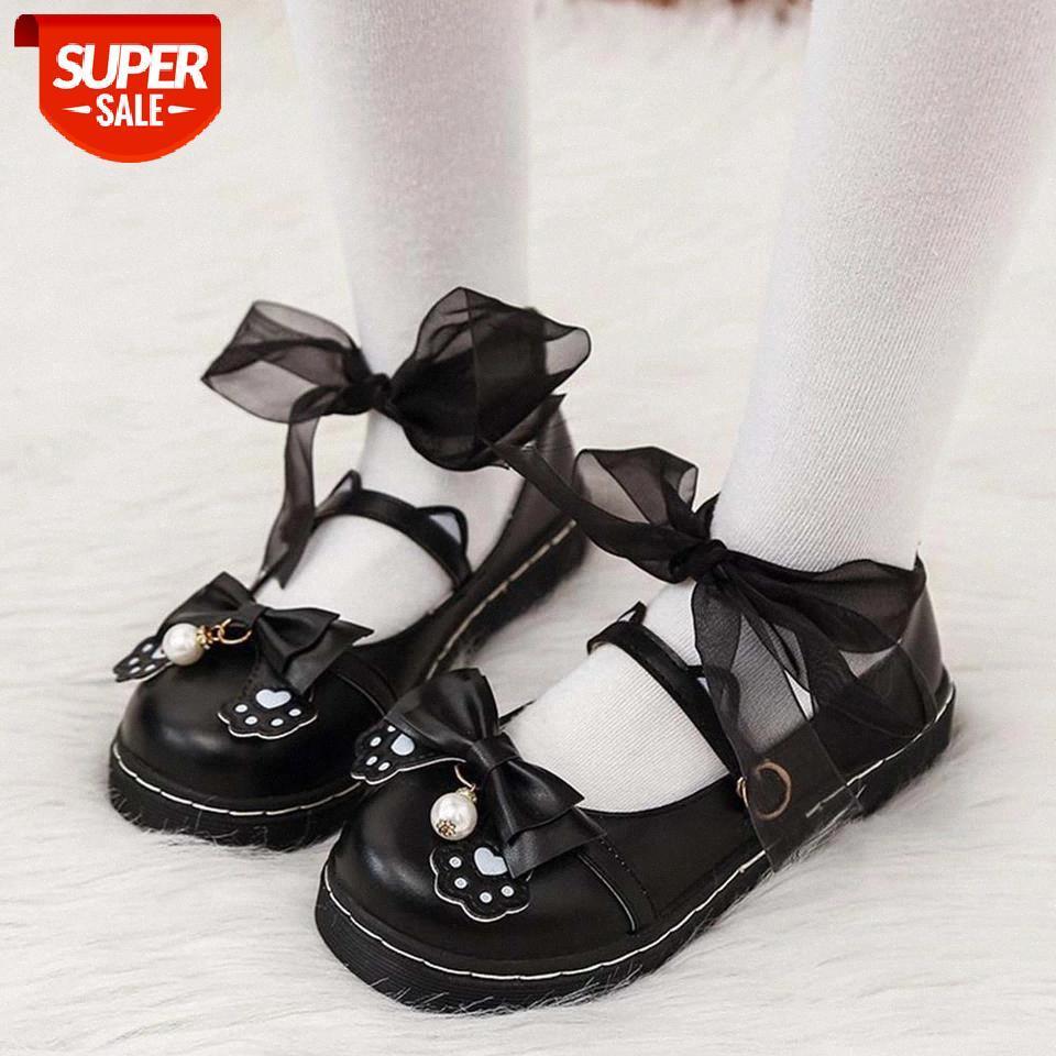 Ribetrini cosplay fille noire plate-forme dentelle boucle marier janes chaussures femmes pompe papillon nœud mignon lolita pompes # QR7Q