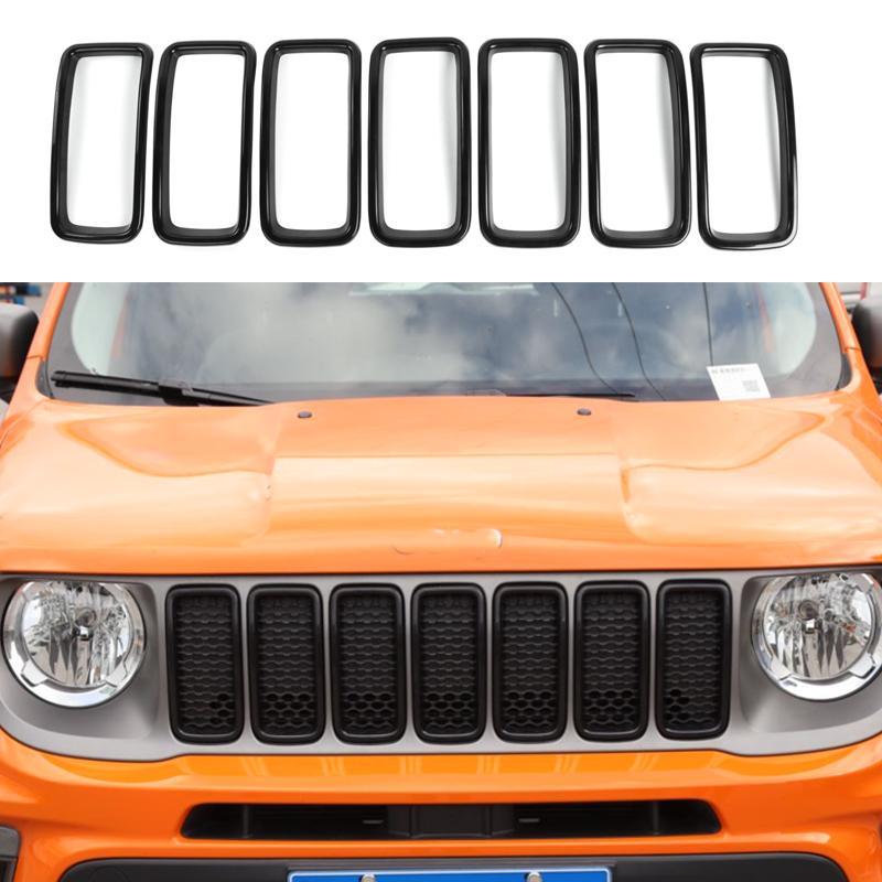 ABS Front Mesh Grille Inserts Grill Couvercle Garniture Noir pour Jeep Renegade 2019-2020 Auto Extérieur Accessoires