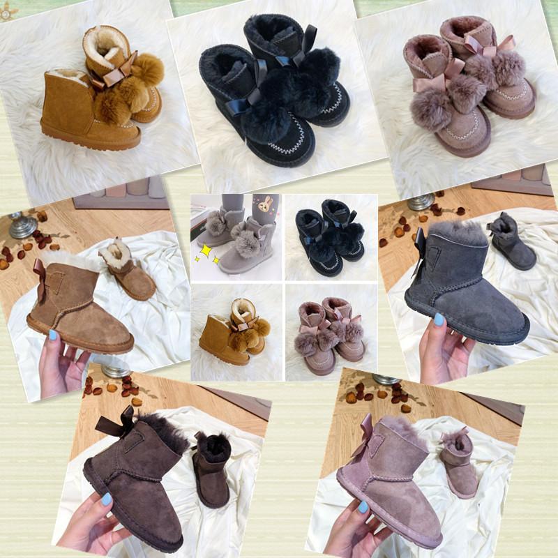 Avustralya Deerskin Ayı Yün Yay Bebek Bir Tuttaban Küçük Kız Kış Eğlence Ayak Bileği Çizmeler Toz Siyah Kahverengi Gri Kahverengi Çocuk Kar Botları