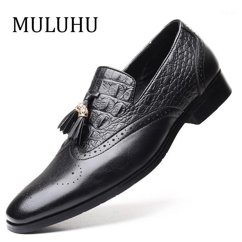 Muluhu Новые Мужчины Кожаные Обувь Формальные Обувь Обувь Мужчины Свадебные Оксфорд Обувь для Мужской Повседневная Люкс Итальянская Итальянская плюс Размер Slip On1