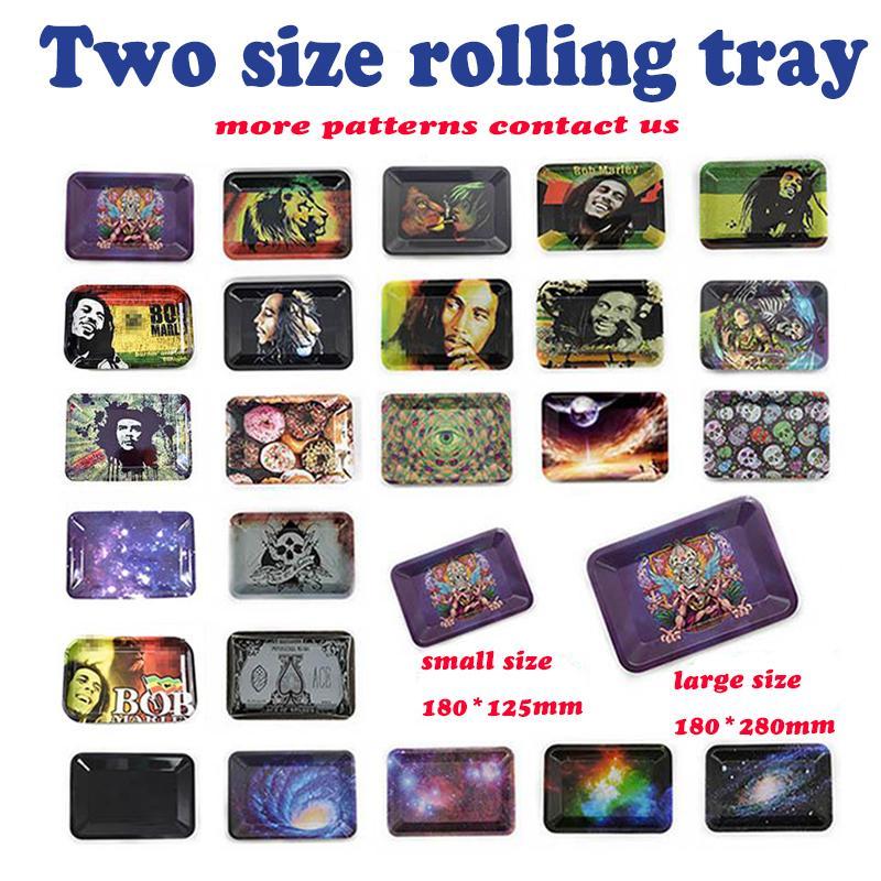 Metallrolle Walzschalen Bob Marley Tablett 188 * 125mm 285 * 185mm Für Raucherpfeifen Papiere Mischen Musterblatt