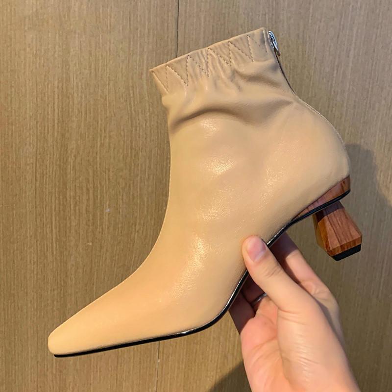 Conciso de couro genuíno mulheres tornozelo botas 2020 outono inverno de volta pontada toe zipper grosso saltos bombas festa básica sapatos mulher
