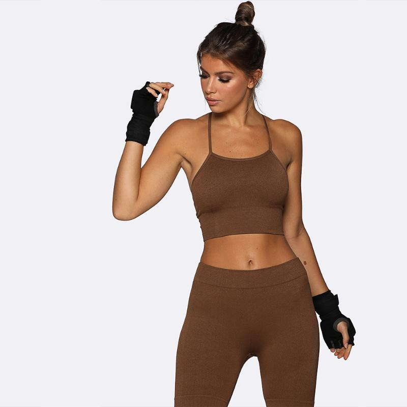Yoga Outfits Seamless Set Women Fitness Clothing Sportswear Woman Gym Leggings Padded Push-up Strappy Sports Bra 2 Pcs Suits