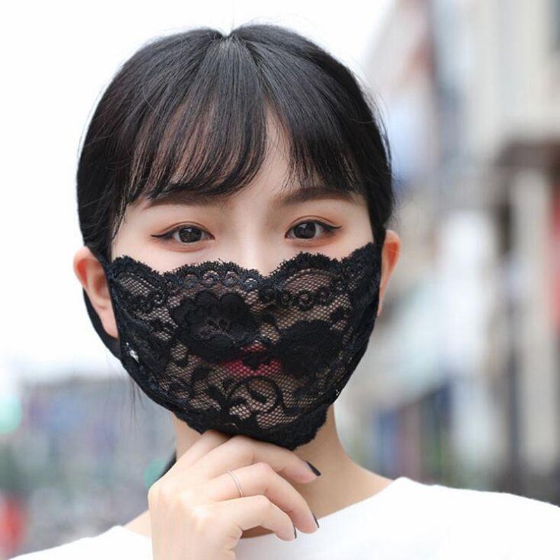 Yıkanabilir İnce Dantel Yüz Maskesi Yetişkin Ağız Yüz Kapak Moda Rahat Kız Siyah Beyaz Parti Maskeleri YYA561 120 adet