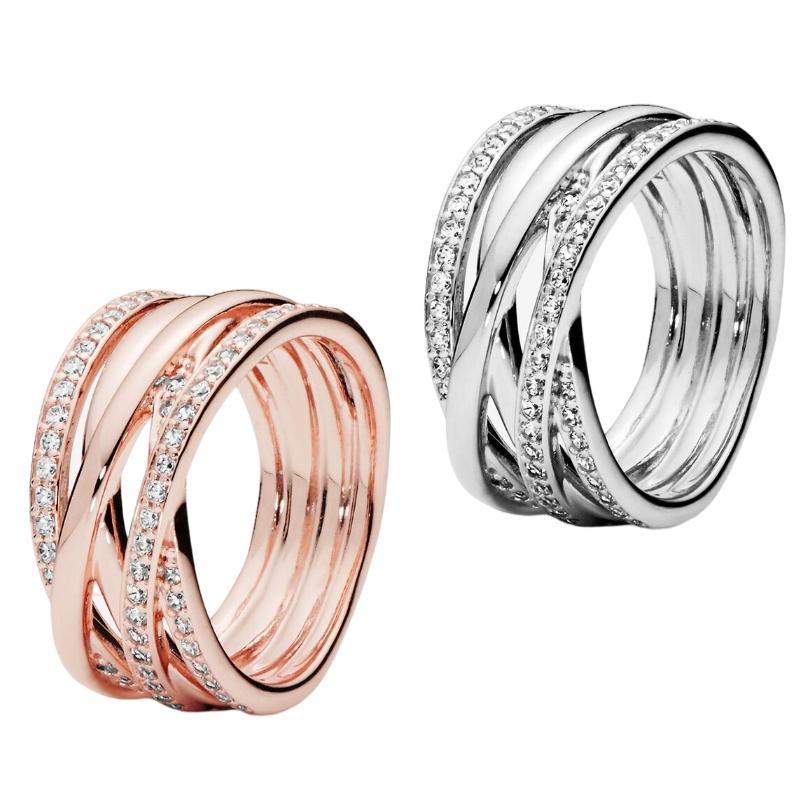 925 Sterling Silver Pandora Estilo Anel de Casamento Noivado Pandora Jóias Para As Mulheres Meninas Entretadas Cubic Zirconia Anel em Pandora Rose