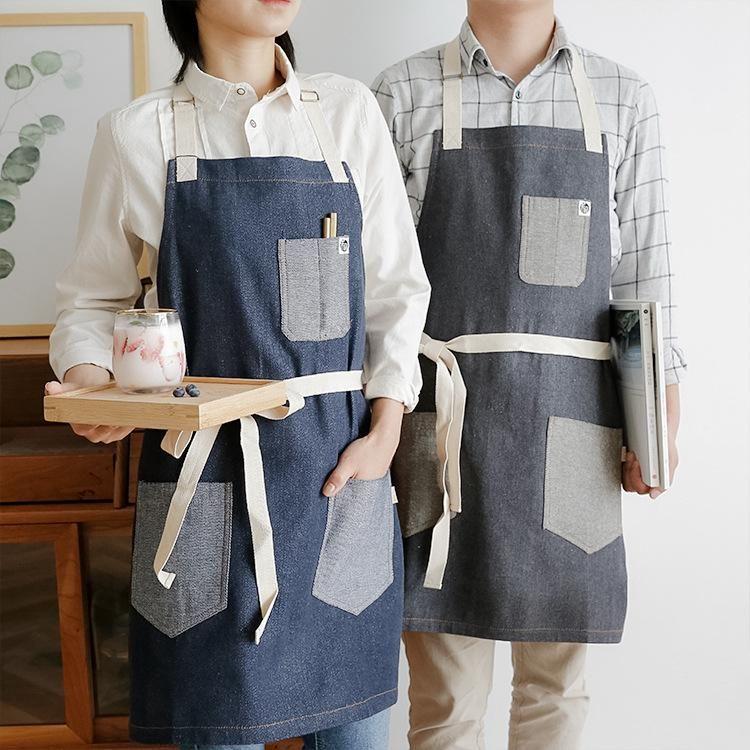 Denim Patchwork Tabliers Classic Design Travail Tablier BBQ BIB Tablier pour Femmes Cuisson Cuisine Restaurant Outils de nettoyage Pinafore