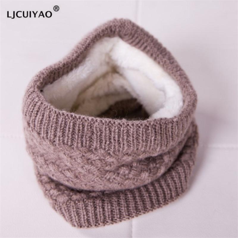 Ljcuiyao bufanda de punto cuello bufandas invierno mujeres hombres grueso vellón interior lana cuello anillo bufanda elástica tejido snieto ski bufandas