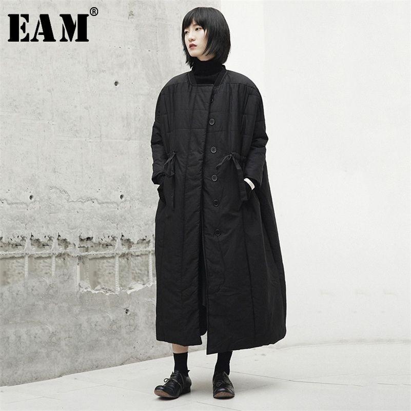 [EAM] Thickening Bandage Long Cotton-padded Coat Long Sleeve Loose Fit Women Parkas Fashion Tide New Spring Autumn JI519 201211