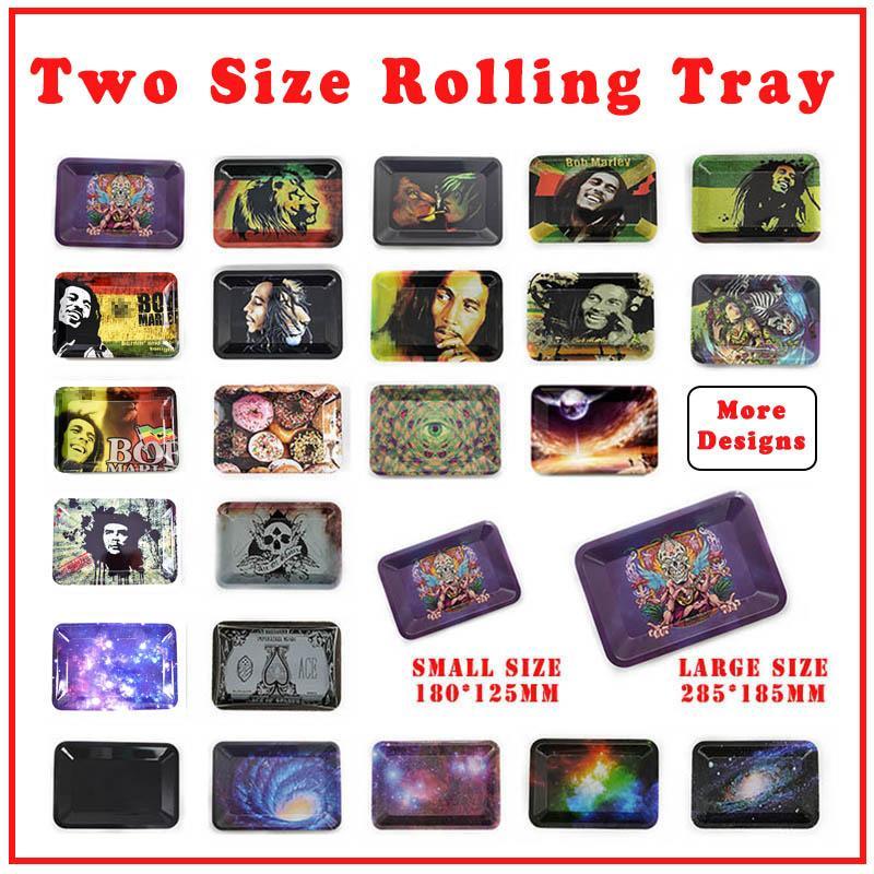 ZWEI GRÖSSE ROLLING FACK 180 * 125/285 * 185mm Rauchen Zubehör Bob Marley Tabletts über 20 Patterns für Tabakkrautschleifer
