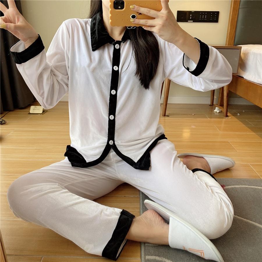Yüksek Kaliteli Kadife Pijama 2021 Yeni Siyah Beyaz Kadınlar Lüks Pijama Kış Beyaz Uzun Kollu Kadife Kadınlar Ev Pijama Tasarımcısı # 137 # 4610099