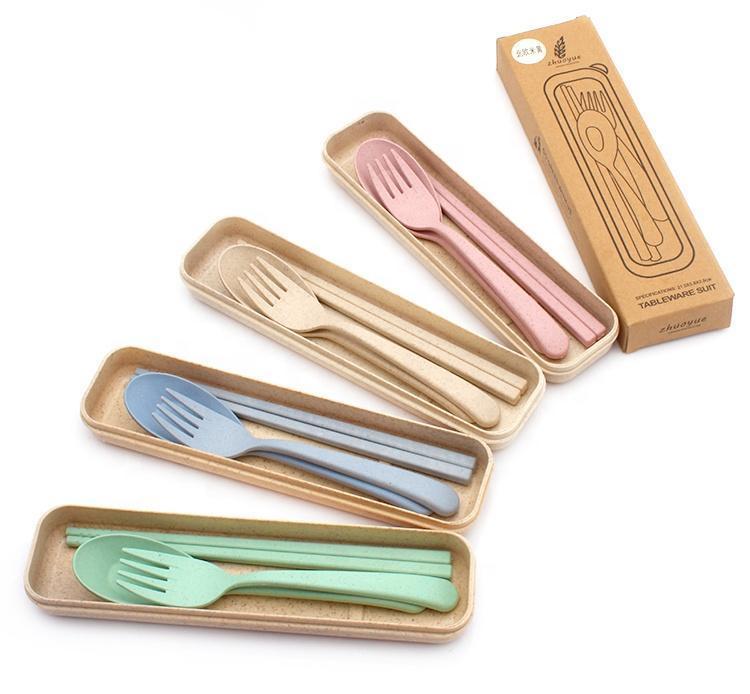 Venta caliente Cubiertos Set Sostenible Eco Friendly Compostable Producto de trigo Fibra Biodegradable Vajilla
