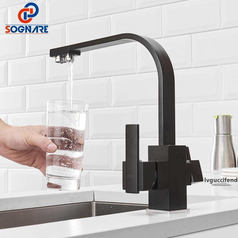 Black Square Kitchen Faucet 360 Degree Rotation 3 Way Water Filter Tap Water Faucets Solid Brass Kitchen Sink Tap Water Mixer T200423